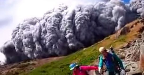 Hikers Caught In The Worst Possible Place During A Volcanic Eruption